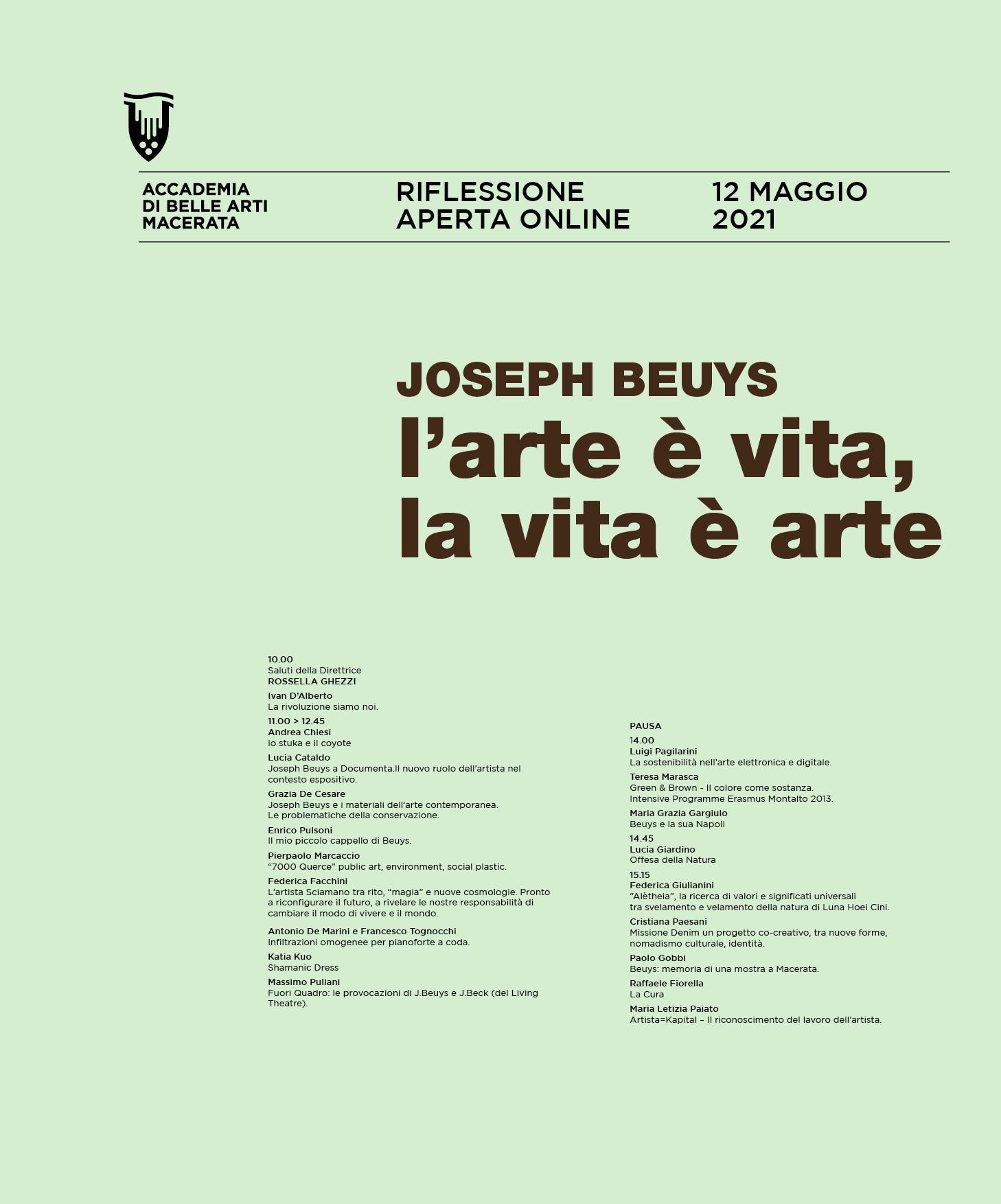 JOSEPH BEUYS. L'ARTE È VITA, LA VITA È ARTE