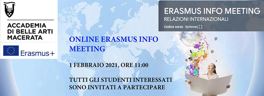 ONLINE ERASMUS INFO MEETING